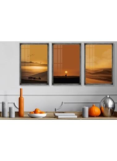 Çerçeve Home  Desert Landscape Inox Çerçeve Tablo Seti Füme